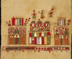 Skyros embroidery Bridal cushion from Skyros island with a scene containing three monumental structures on which human figures are depicted. The structure in the middle is surmounted with a miniature scene of a wedding, the bridal couple and a musician. 18th c. 0.44x0.43 m.