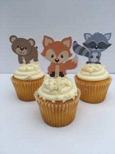 Adorable Woodland Creatures Cupcake Toppers by DianasDen on Etsy
