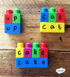 Matching letters to words on Megabloks/Lego bricks