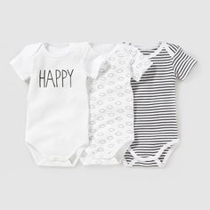 Pack of 3 Short-Sleeved Bodysuits, Birth-3 Years R essentiel | La Redoute Mobile