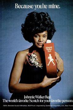Tamara Dobson for Johnnie Walker Red, Jet Magazine. Retro Ads, Vintage Advertisements, Vintage Ads, Jet Magazine, Black Magazine, Vintage Black Glamour, Vintage Beauty, Music Magazines, Vintage Magazines