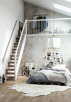 Dormitorio con paredes de ladrillo visto pintadas y texturizadas #ladrillos #paredesdeladrillo #decoracion