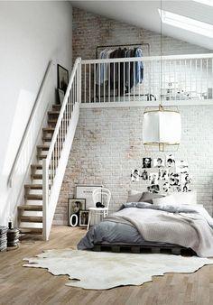 mil dormitorio con paredes de ladrillo visto pintadas y ladrillos decoracion