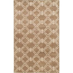 Handmade Scroll Tile Rug Mocha Wool Rug (8' x 10')