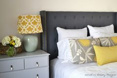 Cool And Creative DIY Headboard Design Ideas : Excellent Sarah M Dorsey Navy Blue DIY Tufted Headboard Design Inspiration in Contemporary Bedroom Decoration Diy Tufted Headboard, Headboard Designs, Diy Headboards, Headboard Ideas, Homemade Headboards, Studded Headboard, Antique Headboard, Blue Headboard, Bedroom Decor
