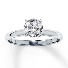 Diamond Solitaire Ring 1 ct Round-cut 14K White Gold
