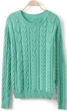 Green Long Sleeve Panicle Pattern Pullovers Sweater