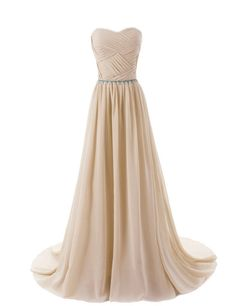 Floor Length Chiffon A-Line evening Dress Featuring Ruched Sweetheart Bodice with Beaded Embellished Belt