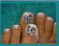French pedi with amazing purple and mint design