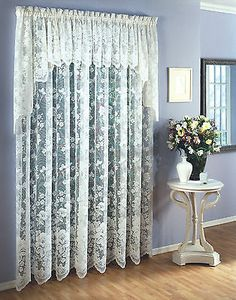 The jacquard weave of small flowers gives way to larger flowers along the curved, scalloped edge of the panel. NOTE - The main photo is from the manufacturer and may not show the correct color or quantity. Half Curtains, Cream Curtains, Printed Curtains, Grommet Curtains, Panel Curtains, Lorraine, Lace Window, Shabby Chic Curtains, Window Styles