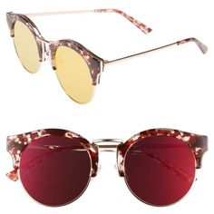 Women's Bonnie Clyde Broadway 51Mm Retro Sunglasses ($64) ❤ liked on Polyvore featuring accessories, eyewear, sunglasses, lovesick red, lightweight sunglasses, horn glasses, retro sunglasses, red glasses and retro eyewear