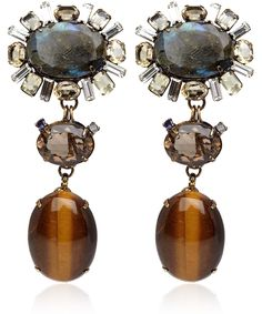 Iradj Moini Tigers Eye and Labradorite Clip-On Earrings | Jewellery by Iradj Moini | Liberty.co.uk