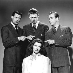 Cary Grant, James Stewart, John Howard and Katharine Hepburn for The Philadelphia Story, 1940.