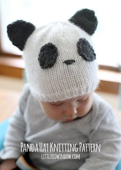 The Sweet Panda Baby Hat is as cute as can be. Knitting for babies is so fun, because everyone loves the precious designs and playful aesthetic. Plus, pandas are one of the most adorable animals in existence, so you can& go wrong. Baby Knitting Patterns, Baby Hats Knitting, Knitting For Kids, Loom Knitting, Free Knitting, Knitting Projects, Knitted Hats, Bonnet Panda, Baby Hut