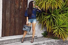ROOTS blue top summer outfits denim shorts tropical vibes