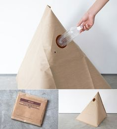 "This is a ""trash pack"". The designer idea is to take advantage of the triangular shape to achieve a sense of balance. It can be used when camping or during a picnic. Functional when required, skillful in the conception of design."