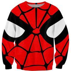 Spiderman Sweatshirt (81 AUD) ❤ liked on Polyvore featuring tops, hoodies, sweatshirts, all over print sweatshirts, red sweatshirt and red top