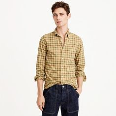 Slim overdyed oxford shirt in check