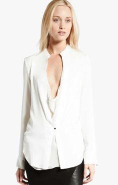 $325 NWT Halston Heritage Designer Silk Blouse Top Double Layer Silk Cream 2 XS…