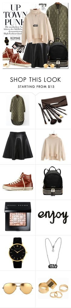 """Romwe"" by oshint ❤ liked on Polyvore featuring Borghese, Converse, MICHAEL Michael Kors, Bobbi Brown Cosmetics, Larsson & Jennings, Linda Farrow, Pieces, cool, romwe and winterfashion"