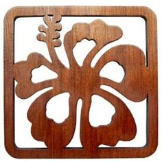 Hawaiian Laser Cut Wood Coasters Hibiscus