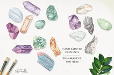Crystals & Gems Watercolor 75 Set by Bloomella on @creativemarket