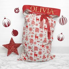 Personalised Red And Gold Christmas Sack by The Letteroom, the perfect gift for Explore more unique gifts in our curated marketplace. Craft Christmas Presents, Personalised Christmas Presents, Personalized Gifts, Christmas Crafts, Cosy Christmas, Christmas Wishes, Santa Sack, Santa Claus Is Coming To Town, Childrens Christmas