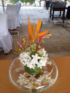 Tropical garden flowers centerpiece