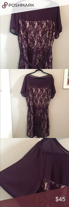 20W Plus Size Purple and Nude Lace Dress Women's plus size 20W from dressbarn collection. Beautiful purple lace over nude, sheer top, waist tie, and keyhole back. PERFECT for date night, wedding, or any other semi formal event! Worn once! Dress Barn Dresses Midi