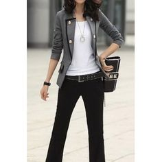 Ladylike OL Style Stand Collar Solid Color Double-breasted Long Sleeves Slimming Women's Blzaer, GRAY, S in Blazers | DressLily.com
