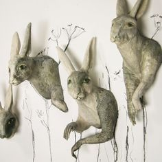 Kelly ConnoleScamper, 2009 — clay, glaze, stain and charcoal wall pieces, hare Rabbit Sculpture, Sculpture Clay, Soft Sculpture, Ceramic Animals, Ceramic Art, Ceramic Figures, Rabbit Illustration, Sculptures Céramiques, Rabbit Art