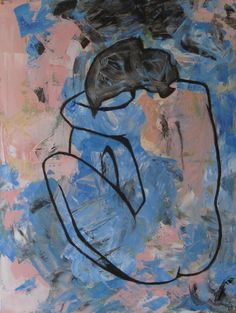 """The Blue Nude and Pink"" This art painting is for sale on www. Abstract Art, Nude, Pink, Painting, Painting Art, Paintings, Pink Hair, Painted Canvas, Roses"