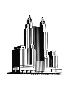 Art Deco Style Rendering of the Park Avenue Waldorf