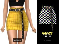 Source by clothes the sims grafity } — Maliya Belted Skirt 🍥 75 swatches ; Source by clothes the sims 4 Sims Four, The Sims 4 Pc, Sims 4 Mm, Sims 4 Mods Clothes, Sims 4 Clothing, Rock Chic, Glam Rock, Vêtement Harris Tweed, Vetements Clothing