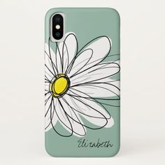 Trendy Daisy Floral Illustration Custom name iPhone XS Case #girly #icases #flowers #whimsy #trendy #iPhoneXSCase. International shipping. #phonecases #iphonecases Hipster Chic, Personalized Phone Cases, Latest Iphone, Floral Illustrations, Plastic Case, Iphone Case Covers, Cover Design, Daisy, Art Pieces
