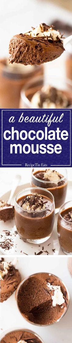 Light, fluffy yet rich chocolate mousse - Dessert Recipes - entertaining Chocolate Mousse Recipe, Best Chocolate, Chocolate Flavors, Chocolate Recipes, Choclate Mousse, Mousse Dessert, Just Desserts, Delicious Desserts, Dessert Recipes