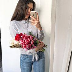 Flowers and spring outfit
