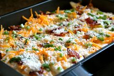 Cheesy Fresno Potatoes~ are a great holiday side favorite and a little different – not quite a scalloped potato, not quite a casserole either, but something right in between. Oh, and there's bacon. If you're looking for a new take on cheesy potatoes, try this one.