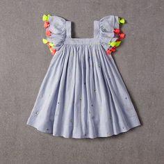Nellystella - Nellystella Chloe Dress in Scatter Embroidery – The Girls @ Los Altos Kids Dress Wear, Kids Gown, Dresses Kids Girl, Baby Dresses, Kids Frocks Design, Baby Frocks Designs, Fashion Kids, Fashion Outfits, Fashion Trends