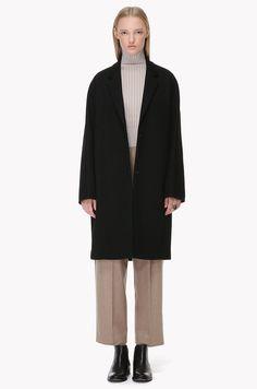 Wool blend jersey snap button coat