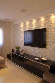 50 creative modern tv wall decor idea for living room design 9 - Home Decor Interior Home Living Room, Living Room Decor, Tv On Wall Ideas Living Room, Tv Living Rooms, Living Room Walls, Curtains Living, Lcd Wall Design, Lcd Unit Design, Ceiling Design