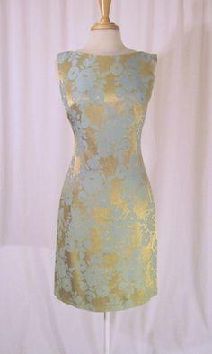 Gold Foil Foral Vintage 60s Sculpted Cocktail Dress