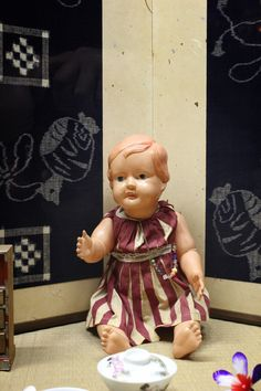 A doll representing a foreign baby at that Mingei Iyo Kasuri Kan in Matsuyama #doll #Matsuyama
