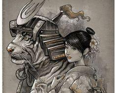 Japanese samurai tiger drawing illustration. I wish I knew the artist. :O