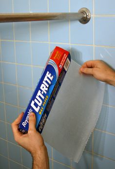 Rub a piece of wax paper along your shower curtain rod.  This will make your curtain glide back and forth, no more sticking, and other great wax paper tips.