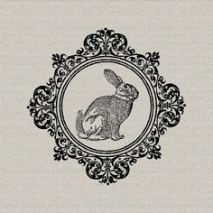 Easter Bunny Rabbit Hare Holiday Decor Wall Decor Art Printable Digital Download for Iron on Transfer Fabric Pillows Tea Towels DT331 on Etsy, £0.63