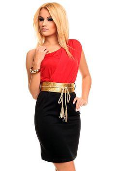 Vestido novo com etiqueta Cores: Vermelho; Dourado e Preto