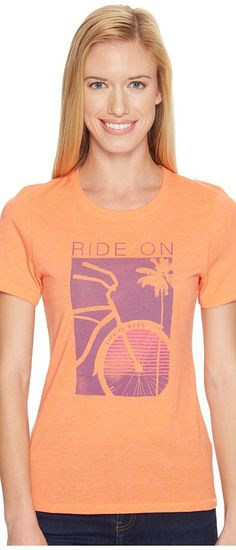 Life is good Ride On Bike Cool Tee (Tropical Orange) Women's T Shirt - Life is good, Ride On Bike Cool Tee, 47723, Apparel Top Shirt, T Shirt, Top, Apparel, Clothes Clothing, Gift, - Street Fashion And Style Ideas