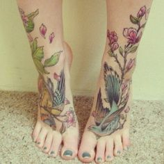 Possible addition onto my foot tattoos I already have of sparrows...great way to incorporate my flowers!