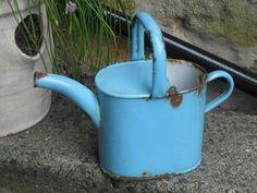 VINTAGE SKY BLUE ENAMEL WATERING CAN - BELGIUM